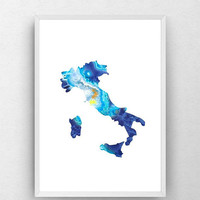 Map of Italy, wall art, deep blue, geode, Italy map, gift, art print, Italy poster, blue agate print, country map of Italy, digital download
