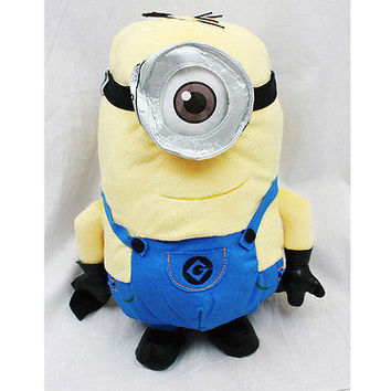 "Despicable Me Minions Stuart One Eye 15"" Plush Backpack Tote by Universal- NEW"