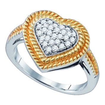 Two-tone Sterling Silver Womens Round Diamond Roped Heart Cluster Ring 1/4 Cttw