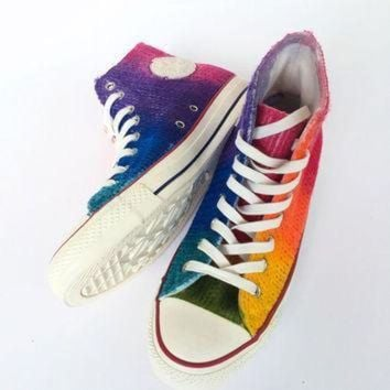 ICIKGQ8 rainbow tie dye cable knit fall and winter sweater converse