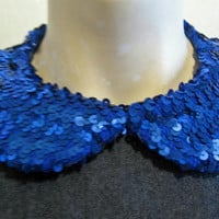Blue Sequins Peter Pan Collar