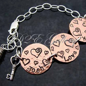 D2E Mixed metal copper and sterling silver charm bracelet hand stamped personalized gift LOVE skeleton key heart wire wrapped moonstone