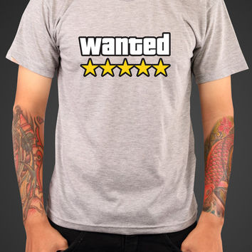 GTA Wanted T-shirt Gamer Inspired swag T-shirt tee Shirt TV show hipster Hot Funny Mens Ladies cool MLG-1051