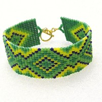 Beaded Cuff Bracelet In Greens And Yellow