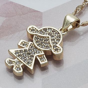 Gold Layered Women Little Girl Fancy Necklace, with White Micro Pave, by Folks Jewelry
