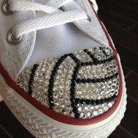 Volleyball Blinged Converse #TeamMomBling custom shoes made with Swarovski & Converse