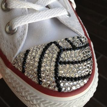 Volleyball Blinged Converse  TeamMomBling custom shoes made with 4482ccd74