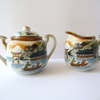 Cream and Sugar Porcelain Japanese Vintage Set - Antique
