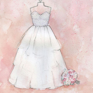 Custom Bridal Illustration - First Wedding Anniversary Gift -  Personalized Wedding Dress Painting - Original Watercolor Artwork
