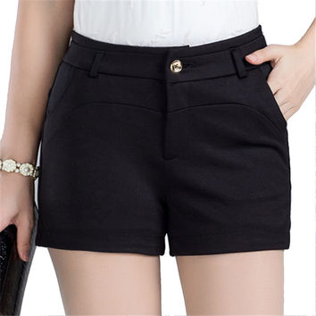 Women Shorts Mid Waist 2016 Summer New Fashion Skinny Black Casual Zipper Knit Shorts Women Bermudas pantalones cortos
