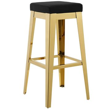 Arrive Gold Stainless Steel Upholstered Velvet Bar Stool