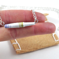 Handmade Paper Bead Necklace Gold White and Blue Striped Pastel Tones Recylced Jewellery