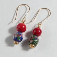 Chinese Cloisonne Beaded Earrings Dangle Dangly Gold Red Blue Green French Hooks Stone Asian Jewelry Beads Handmade Wire Work Metalwork