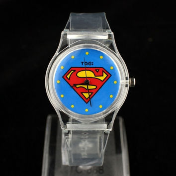 Superman version of the transparent tape men and women quartz watch watch gift table = 1946875204