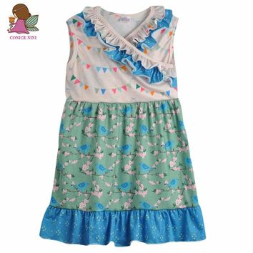 CONICE NINI brand girls clothes baby kids clothing floral print cotton summer dress boutique remake cute girl dress DX037