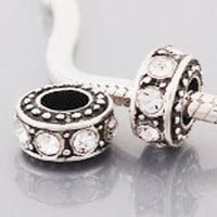 European Charm Metal Bead Large Spacer Clear Stones