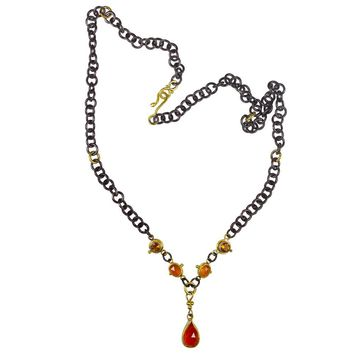 ALL NEW Carnelian, Citrine, 22k Gold and Silver Smoke and Stone Necklace