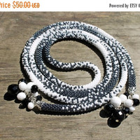 Long Black and White Rope Necklace, Bead Crochet Necklace, Luxury Necklace, Beadwork Beaded Necklace, The Classic Color Combination