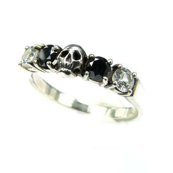 Skull Wedding Ring Black Diamond Sterling Engagement Ring Goth Psychobilly Wedding Band Wedding Set Jewel Ring All Sizes