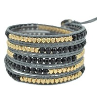 MJartoria Black Gold Color Faceted Cut Beads on Grey Leather 5x Wrap Bracelet with Adjustable Closures