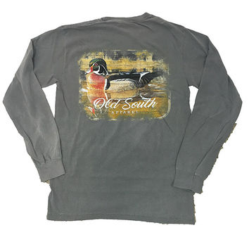 Old South Wood Duck Comfort Colors Grey Long Sleeve Unisex T-Shirt