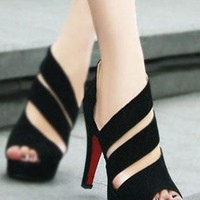 Strip Cutout Elegant Cute High-heeled Shoes