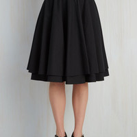 Rockabilly Long Full Essential Elegance Skirt in Black