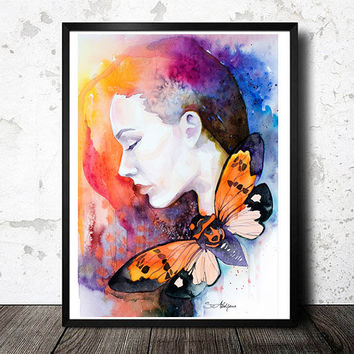 Orange butterfly watercolor painting print, Fashion Illustration, animal watercolor, butterfly watercolor, watercolor portrait