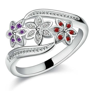Silver Plated Crystal Wedding Ring