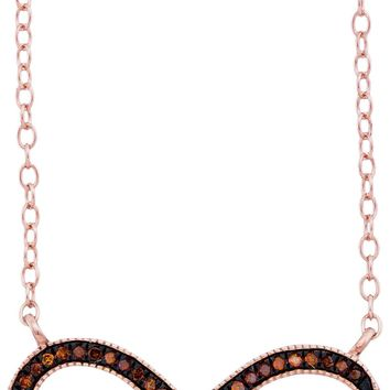 10k Rose Gold Womens Red Colored Diamond Infinity Smile Love Anniversary Necklace 1/10 Cttw