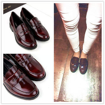England Style Vintage Leather Flat Shoes [4918348804]
