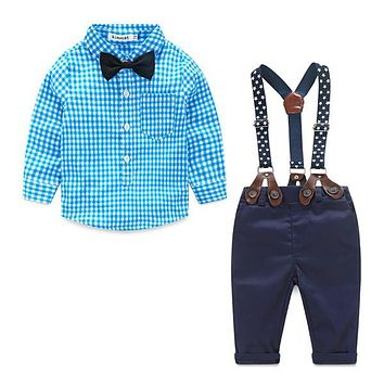 Baby Boy Gentleman Plaid Clothing Suit For Newborn Baby Bow Tie Shirt + Suspender Trousers