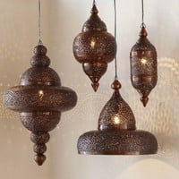 Antique Copper Moroccan Hanging Lamp - VivaTerra