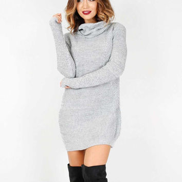 Grey High Neck Rib Sweater Dress
