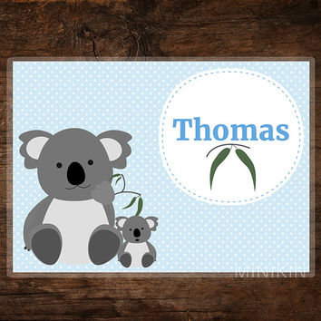 Large Kids Decor Personalised Placemat Children Koala Baby Gift Animal Australia Bear With Polka Dots Wipe Clean 297mm x 420mm A3 Printed
