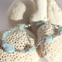 Caribbean Larimar wire wrapped Blue Bracelet, silver plated, beach dolphin surf unisex aqua turquoise stone boho handmade