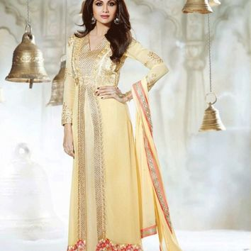 Cream Ornate Georgette Designer Suit - Salwar Kameez - Women