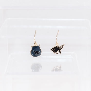Goldfish and Fishtank Earrings