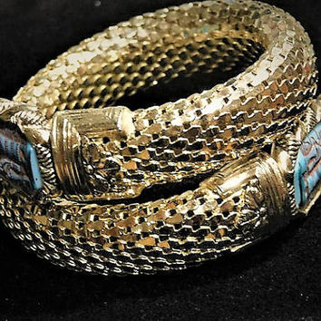 HTF Vintage Whiting and Davis Gold Mesh Egyptian Revival Snake Bracelet Cuff Wrap Bangle Whiting Davis Designer Jewelry Turqouise Glass