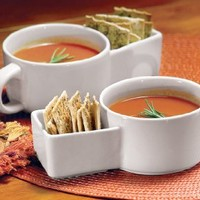 Collections Etc Soup and Cracker Ceramic 8.5 oz Mug, Set of 2