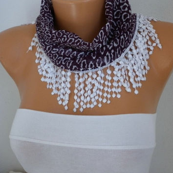 ON SALE - 50% OFF  Leopard Scarf  Shawl Scarf  Cowl  Scarf Gift -fatwoman Dark Purple