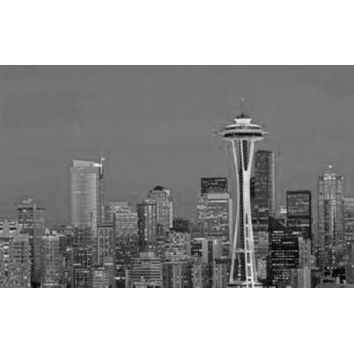 """Seattle Skyline Poster Black and White Poster 16""""x24"""""""