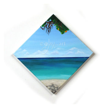 Shades of Beach, acrylic tropical beach painting, 12x12 inch canvas, art for home or office decor