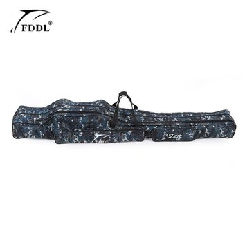 FDDL Portable  Fishing Bags  2/3 Layer Folding Fishing Rod Reel Bag Fishing Storage Case 120/130/150 cm 1680D Canvas for Pesca