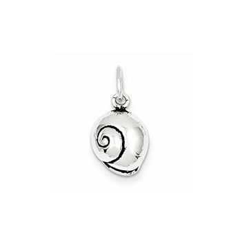Sterling Silver Antiqued Seashell Charm, Best Quality Free Gift Box Satisfaction Guaranteed