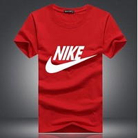 NIKE Classic Stylish Women Men Casual Print Short Sleeve Round Collar Couple T-Shirt Top White