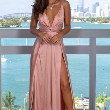 Blush Satin Maxi Dress with Slits