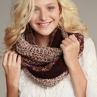 Burgundy Earth Tone Melange Thick and Texture Knitted Infinity Scarf