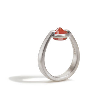 Courage - 3 Ct Carnelian Brushed Silver Ring