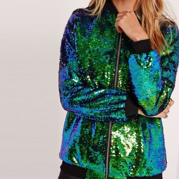 Autumn Women Sequin Coat Green Bomber Jacket Long Sleeve Zipper Streetwear Jacket Preppy Loose Casual Ladies Glitter Basic Coat